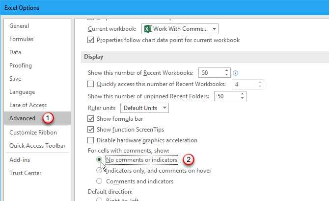 Turn off Excel comments and indicators