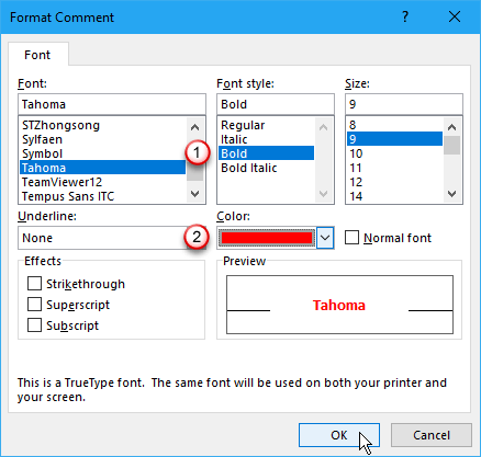 Format Comment dialog box in Excel