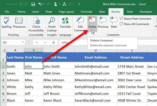 Delete Excel comments