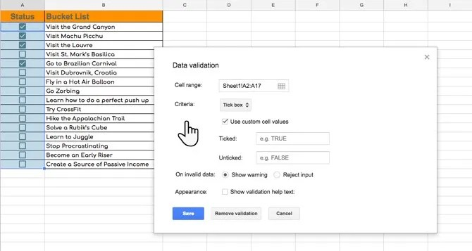 Validation of a Tick box in Google Sheets with Custom Values