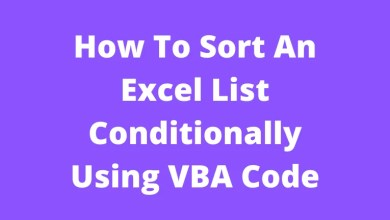 How To Sort An Excel List Conditionally Using VBA Code