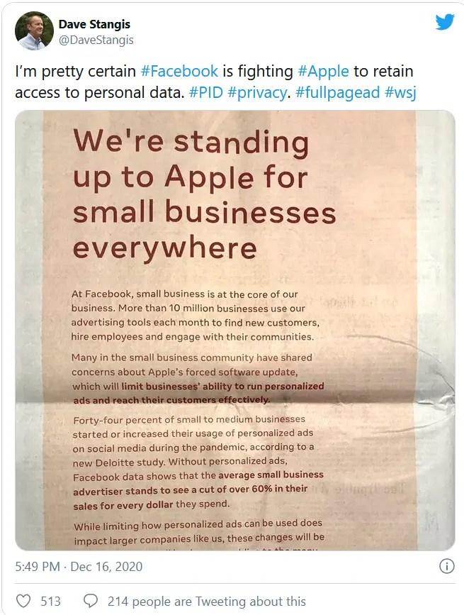 Facebook against Apple