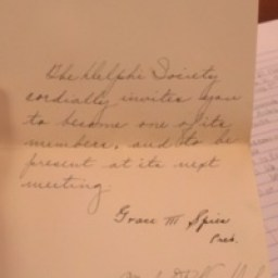Formal invite sent to Adelaide Dykhuizen to join the Delta Phi Sorority at Hope College