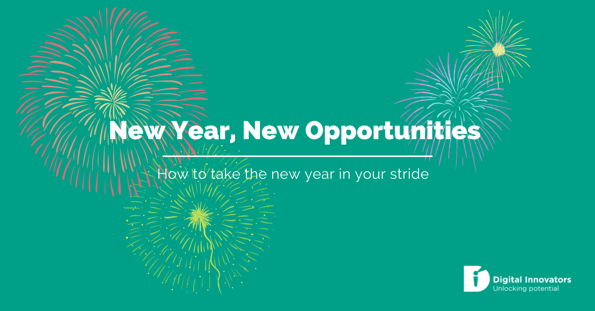 "Blog banner with title ""new year, new opportunities - how to take the new year in your stride"" with fireworks"