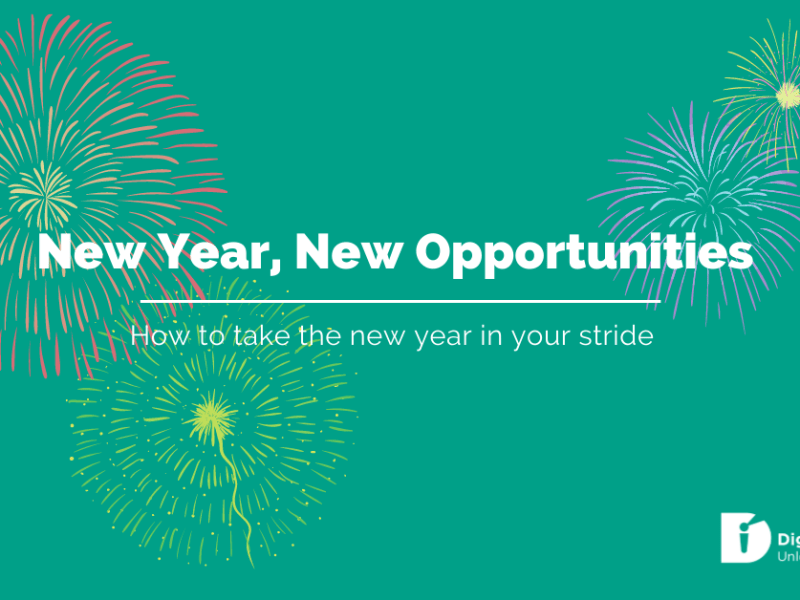 """Blog banner with title """"new year, new opportunities - how to take the new year in your stride"""" with fireworks"""