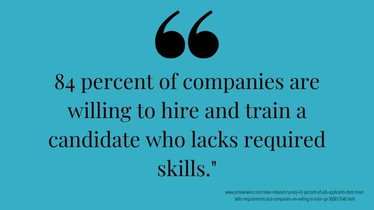 84 percent of companies are willing to hire and train a candidate who lacks required skills.