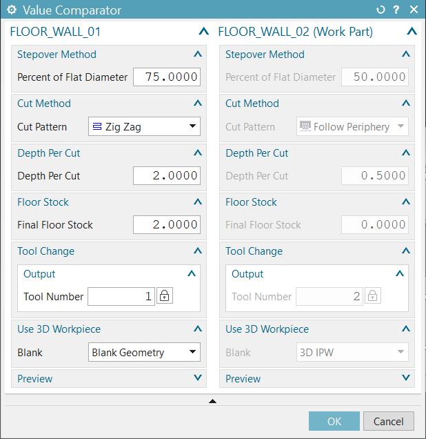Megmunkálási paraméterek összehasonlítása NX