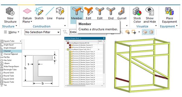 NX tartószerkezet tervező modul