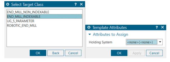 Az Export Tool to Library gombbal tudjuk a szerszámot kiexportálni a szerszámadatbázisba. Az exportálás során a szerszám típusát és opcionálisan a tartórendszert meg kell adjuk.