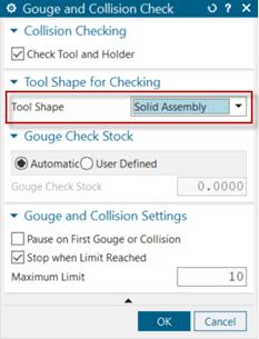 Az ütközésvizsgálat során nincs más dolgunk, mint hogy a Tool Shape-t Solid Assembly-ként adjuk meg. Így a szerszám valós alakját fogja figyelembe venni az NX a vizsgálat során.