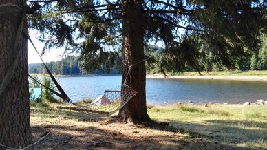A hammock by the lake