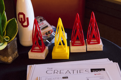 Photograph by William Farrell of the trophies and door prizes at the OU Creaties