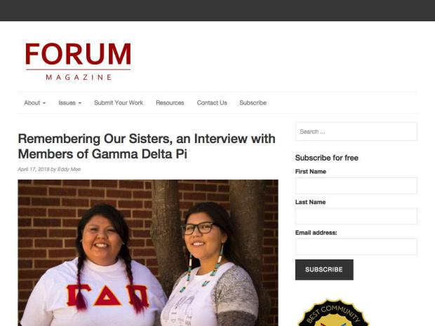 Screenshot of the Forum Magazine's Interview Members of Gamma Delta Pi