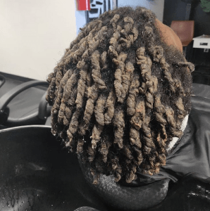 starter locs coated with product buildup