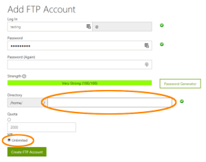 Creating a new FTP account - Step 2