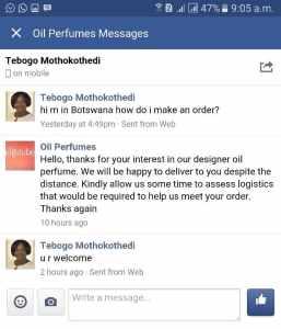 Order from Bostwana
