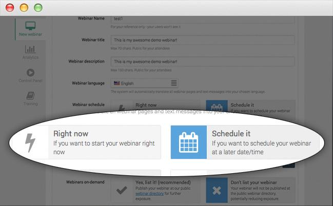 Webinarjam Scheduling flexibility