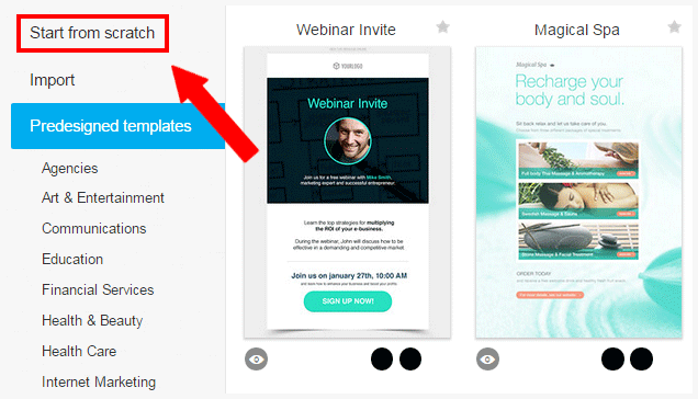 Select predesigned email template or create one from scratch