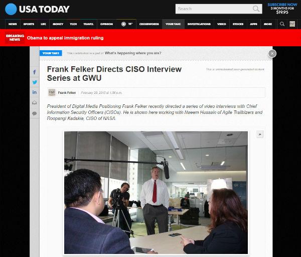 Frank Felker Directing Video at George Washington University