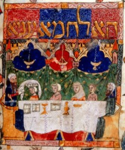 Image from a Haggadah showing a seder table.