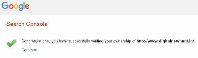 successfully verified blog in search console