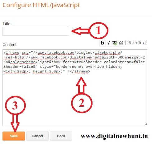 facebbok-page-add code to blog