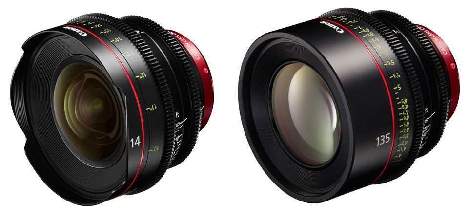 Canon CN-E14mm T3.1 L F and CN-E135mm T2.2 L F Cinema Lenses
