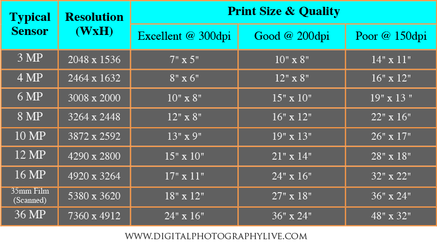 Megapixels Vs Print Size How Big Can You Print