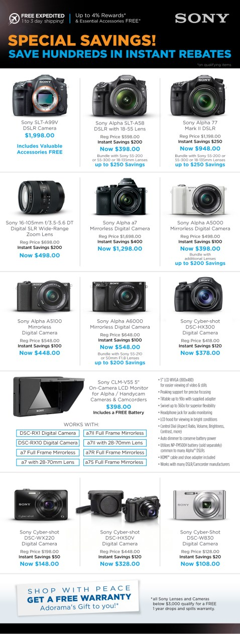 Sony Instant Rebates & Savings