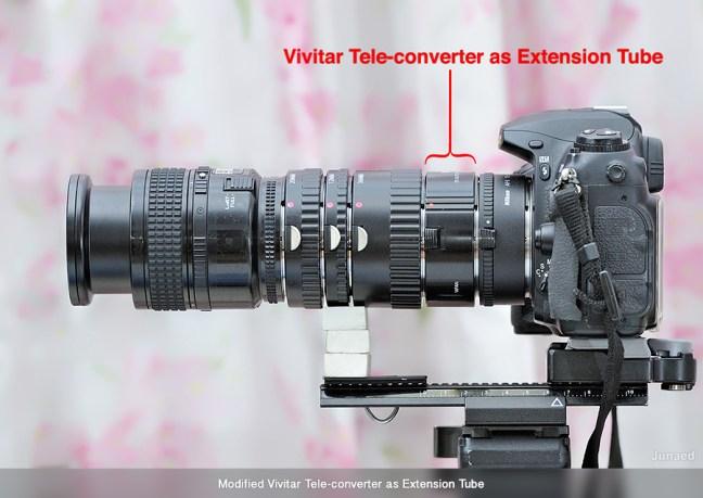 Vivitar Tele-converter as Extension Tube in use