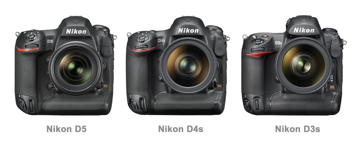 Nikon D5 vs D4s vs D3s Front
