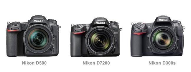 Nikon D500 vs D7200 vs D300s Front