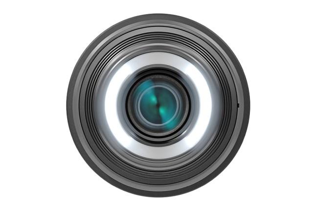 Canon EF-S 35mm f2.8 Macro IS STM Both Lights Illuminated Dim FRT