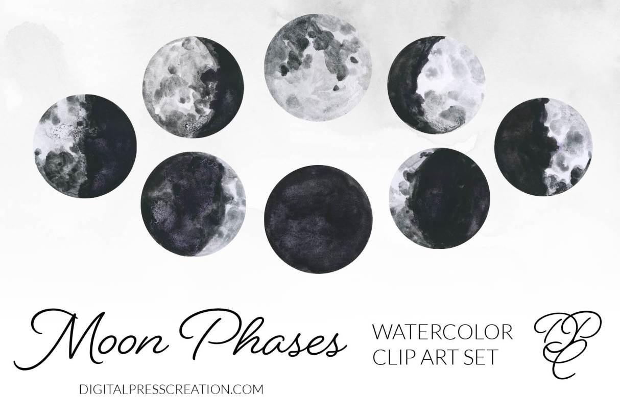 Moon phases illustrations in watercolor