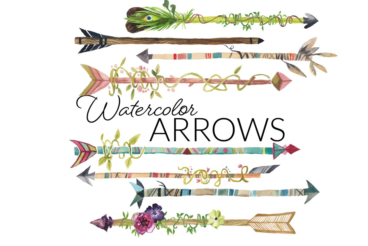 Watercolor hipster boho arrows clipart