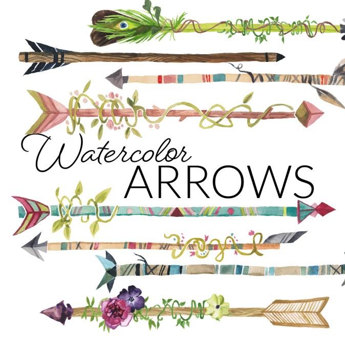 Watercolor hipster boho arrows clipart