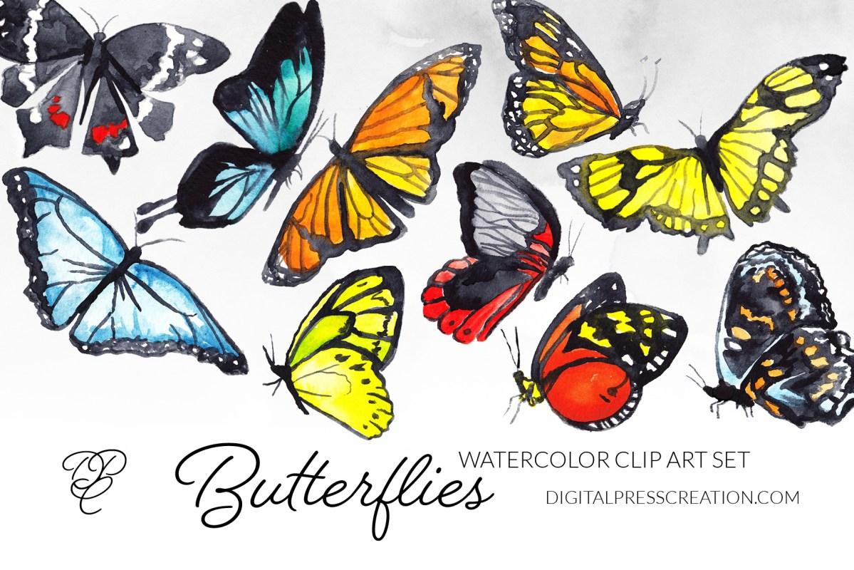 Watercolor Butterflies Clipart Set, transparent butterfly clip art