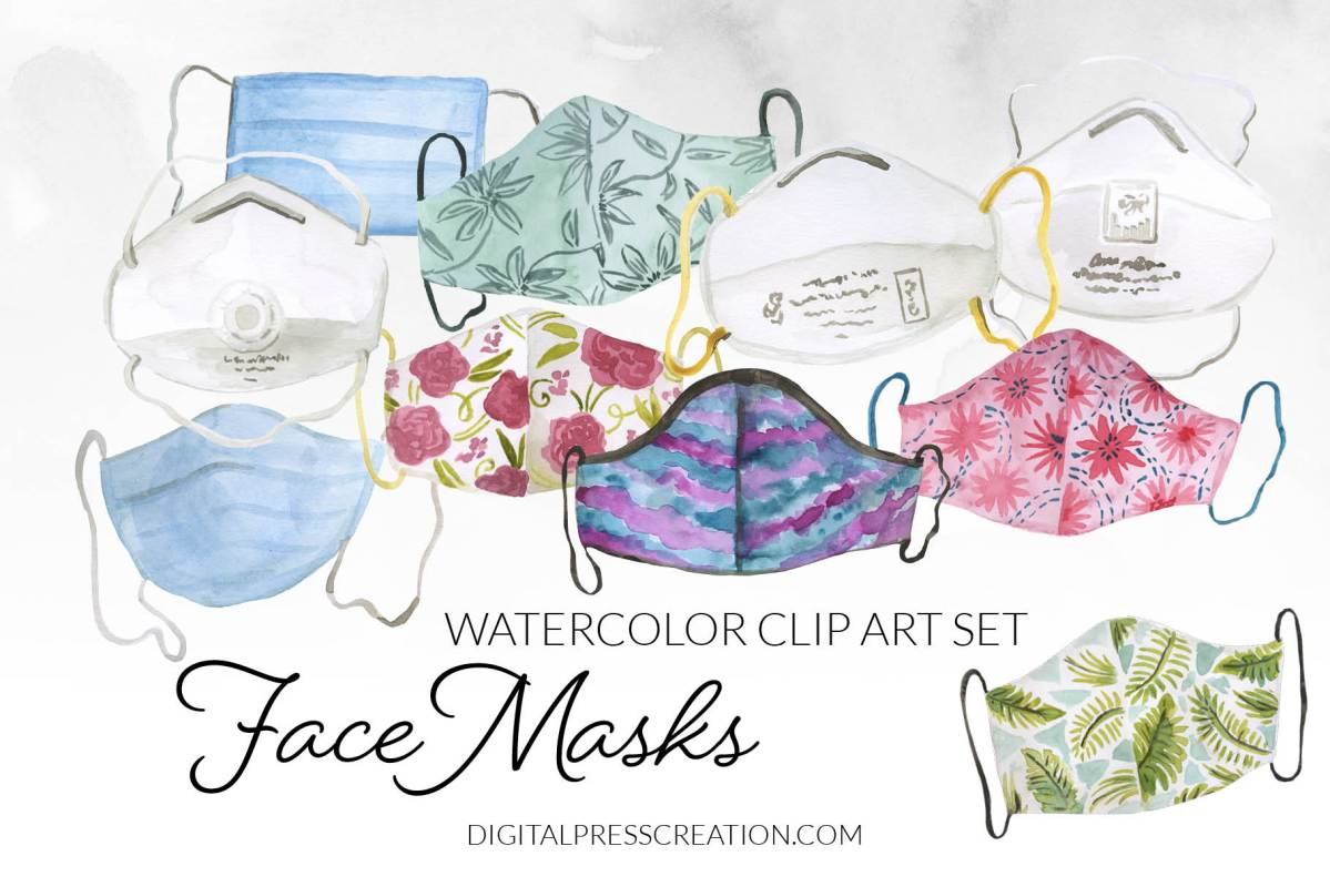 Watercolor Face Masks clipart