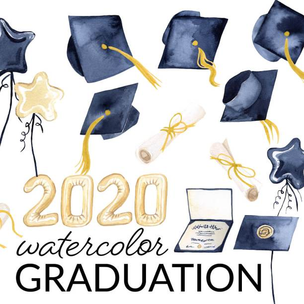 2020 Watercolor Graduation Clipart, hats thrown in the air clipart, Graduation cap, diploma