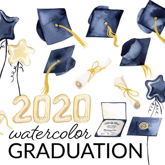 2020 Watercolor Graduation Clipart, hats thrown in the air clipart, Graduation cap, diploma