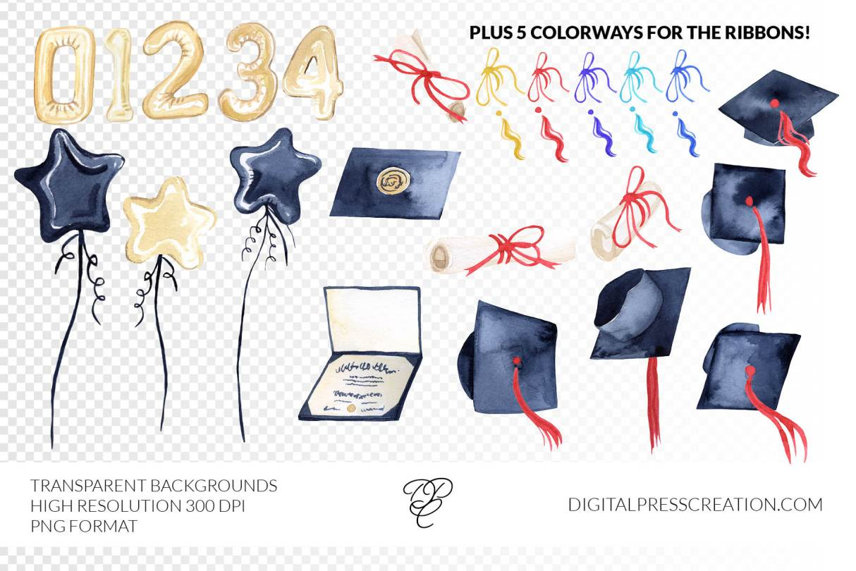 Watercolor Graduation Clipart Transparent Background PNG 300 DPI