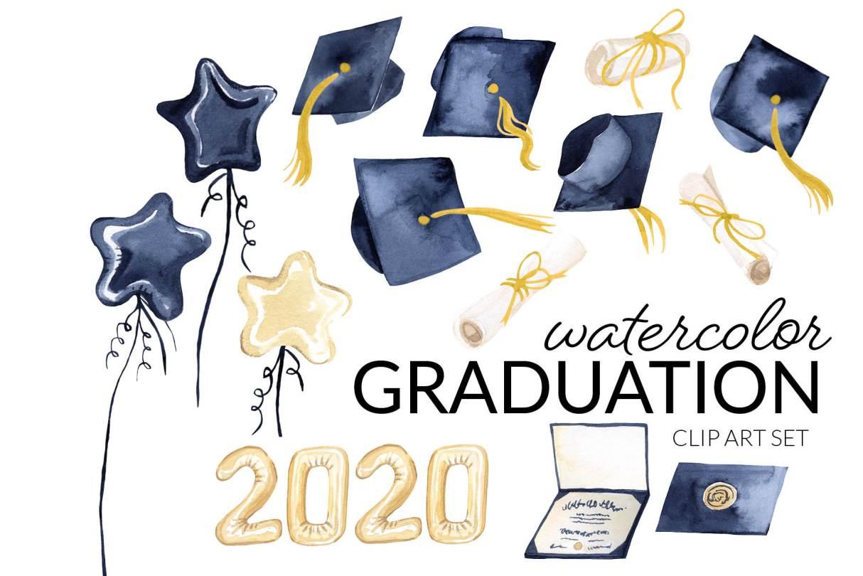 Graduation Clipart, grad caps, watercolor art, graduation caps, star balloons, 2020, diploma