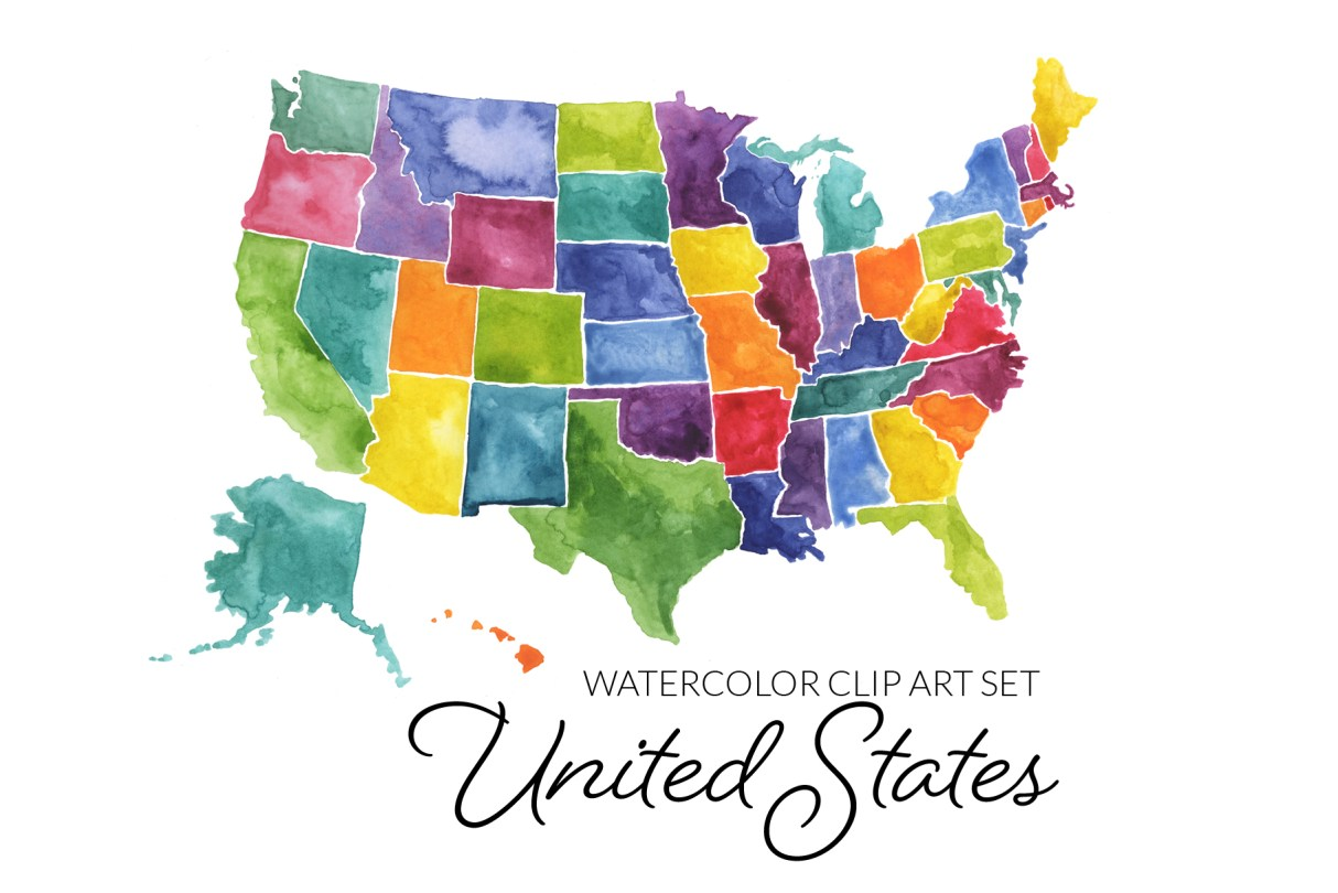Watercolor United States Map Clipart, PNG Clip Art