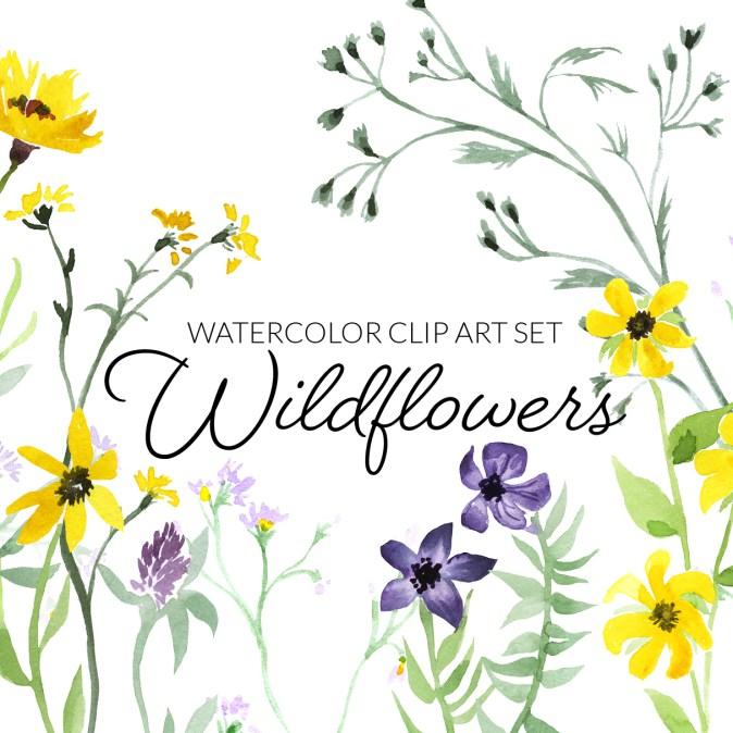 Watercolor wildflowers clipart, digital press creation