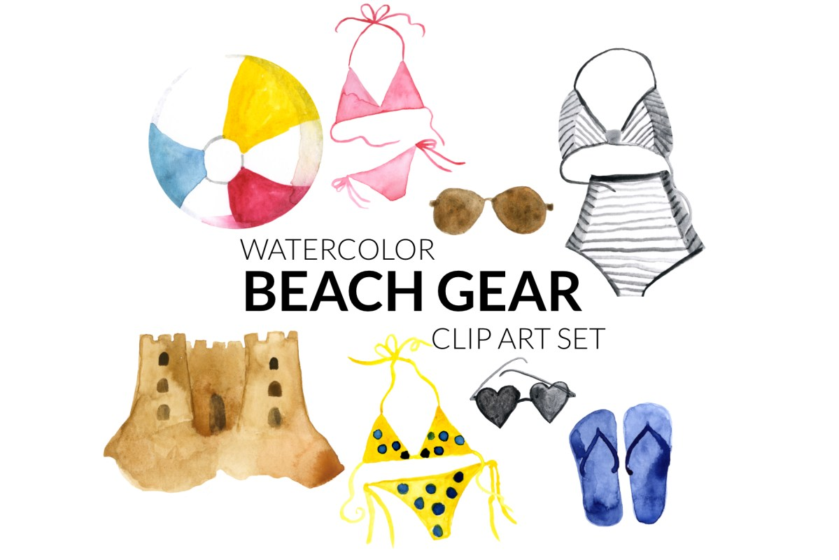 Beach Day clipart set, digital beach artwork clipart set