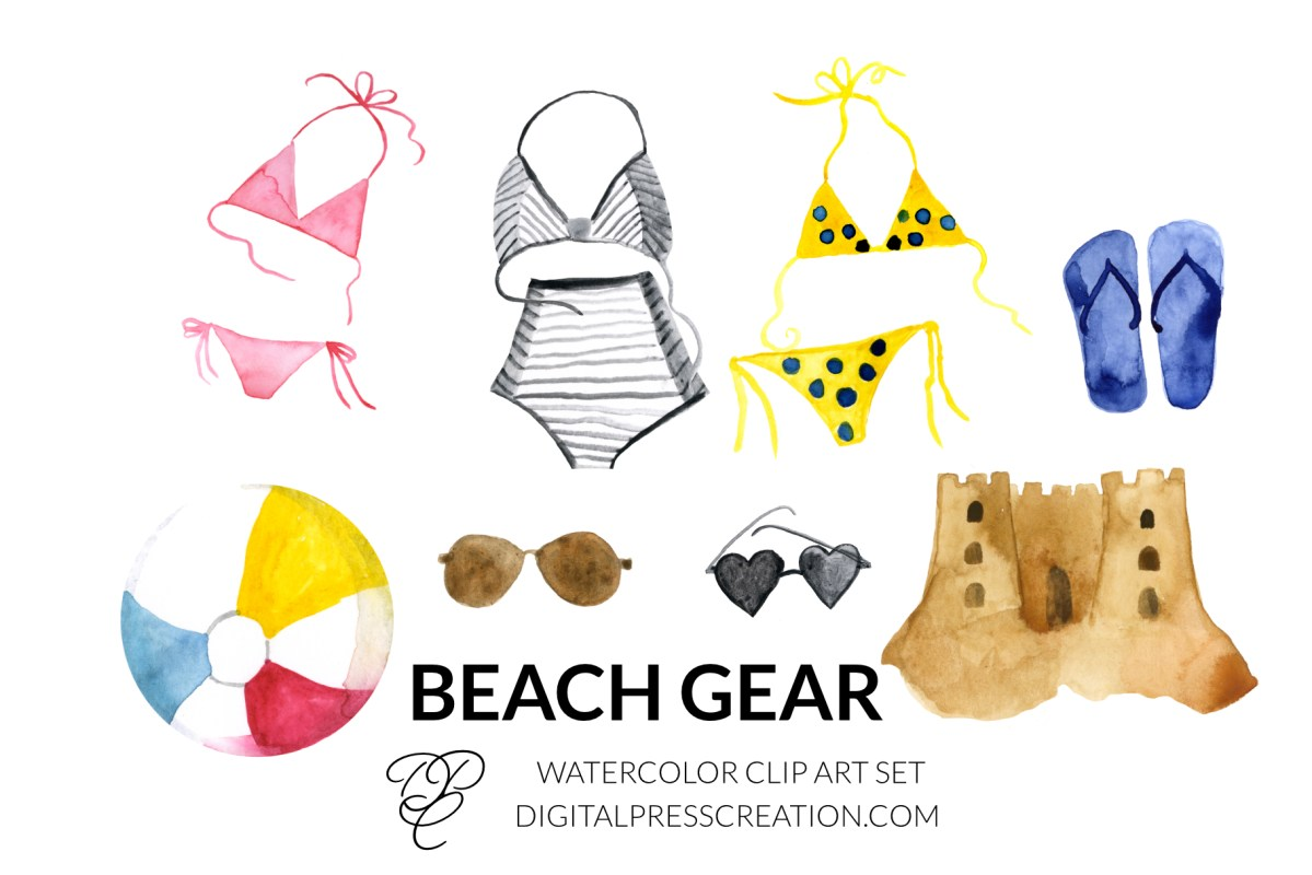 Watercolor Beach Gear Clipart