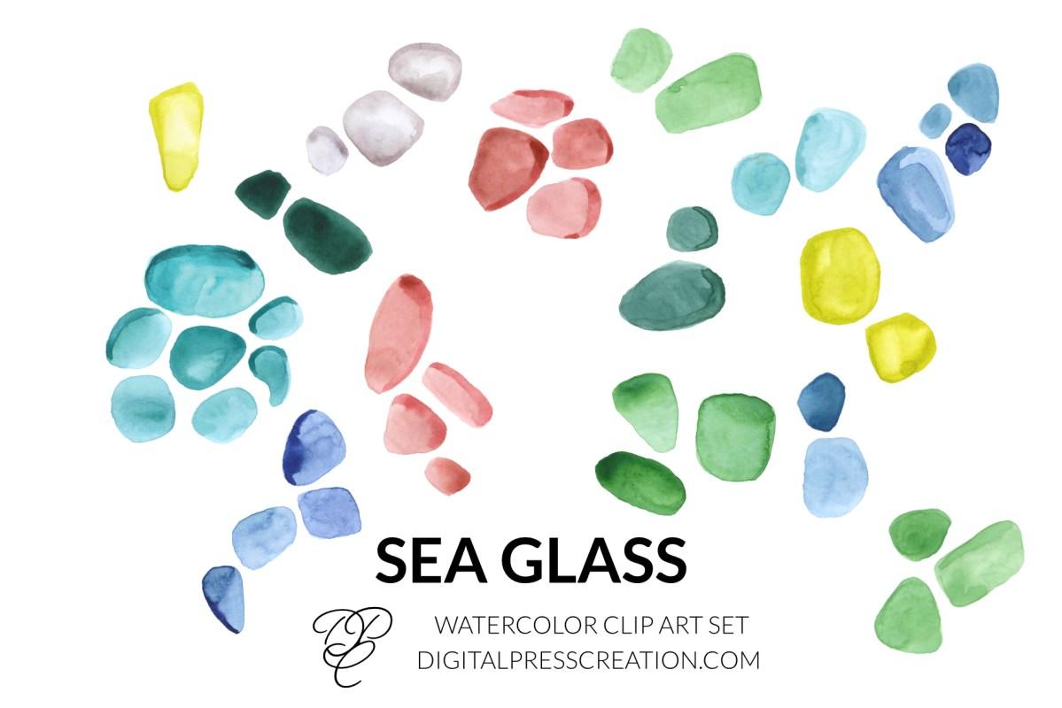 Watercolor Sea Glass Clipart