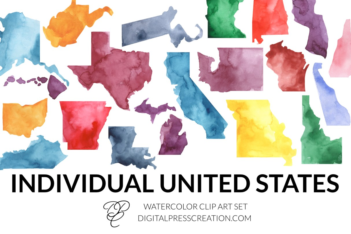 Watercolor united states sihlouette transparent colorful rainbow states