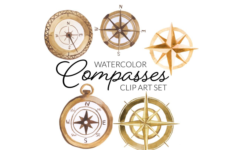 watercolor clipart golden copper, compass rose clip art transparent clipart