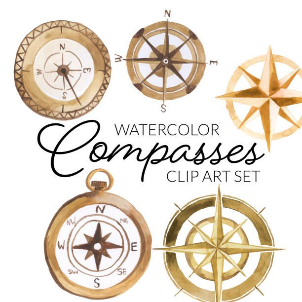 watercolor clipart golden copper, compass rose clip art transparent clipart